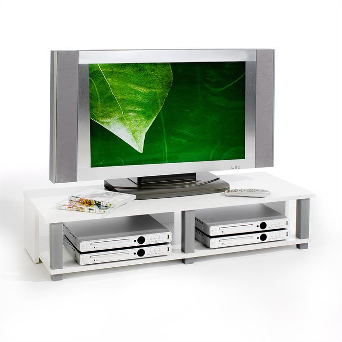 Meuble TV GERO, 2 niches, blanc