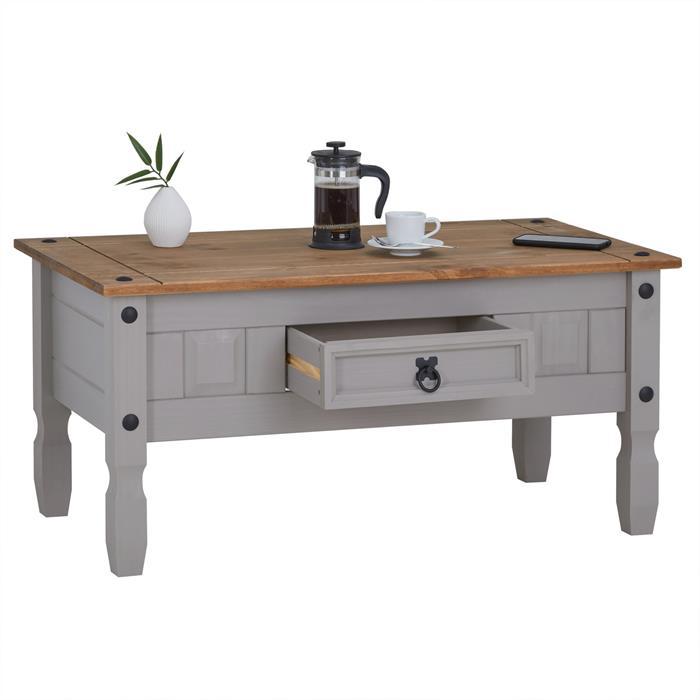 Table basse RAMON avec 1 tiroir, style mexicain en pin massif gris et brun
