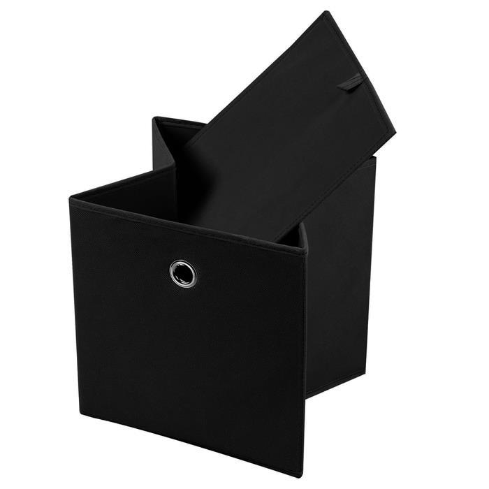 Lot de 2 boîtes de rangement ELA, en tissu noir