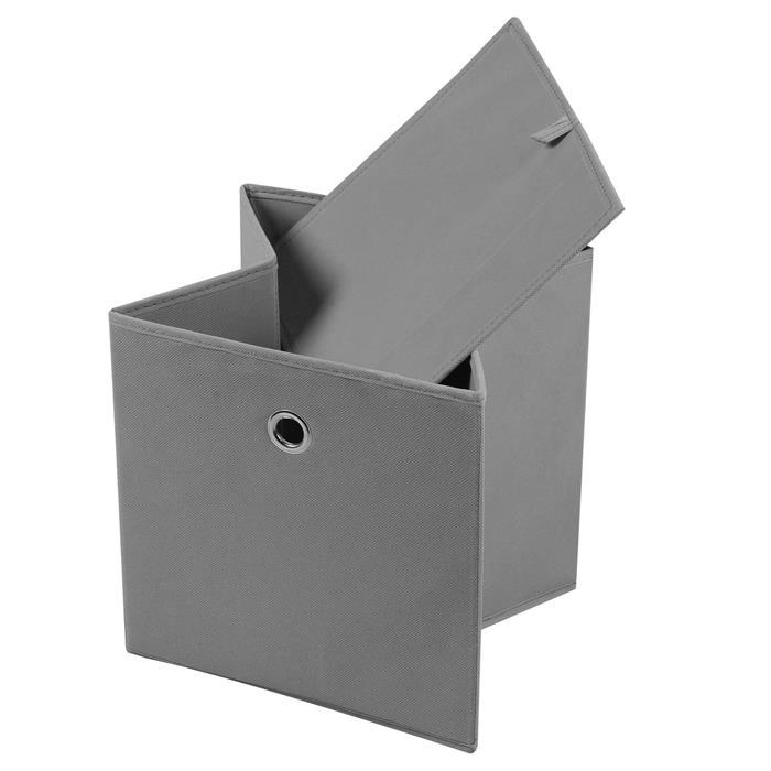 Lot de 2 boîtes de rangement ELA, en tissu gris