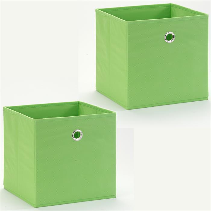 Lot de 2 tiroirs en tissu BELLA, vert