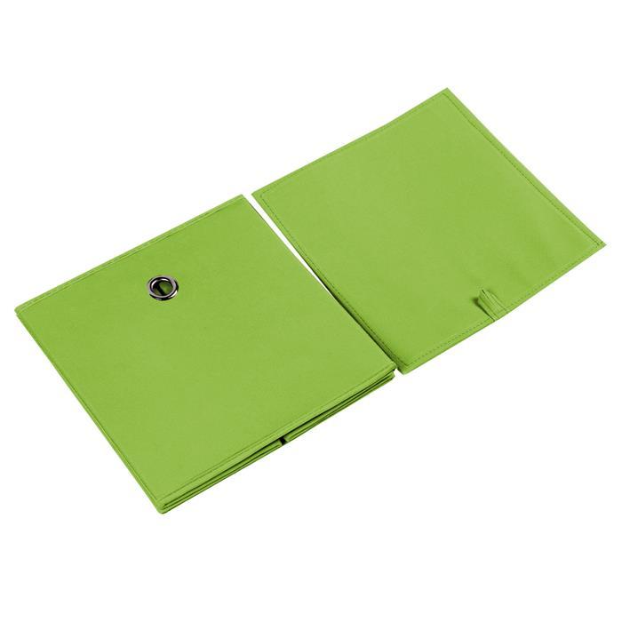 Lot de 2 boîtes de rangement ELA, en tissu vert