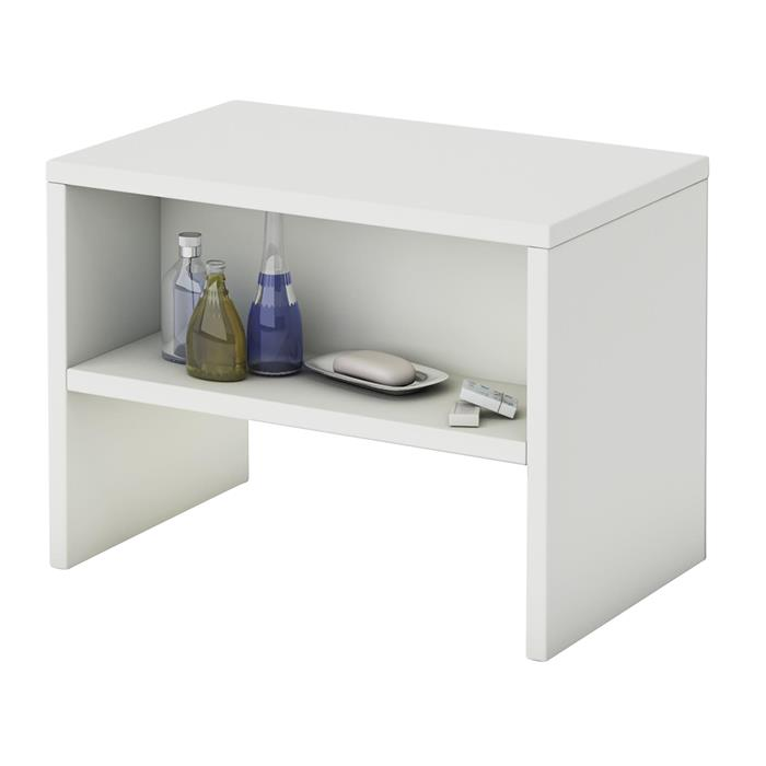 Table de chevet DION, en mélaminé blanc mat
