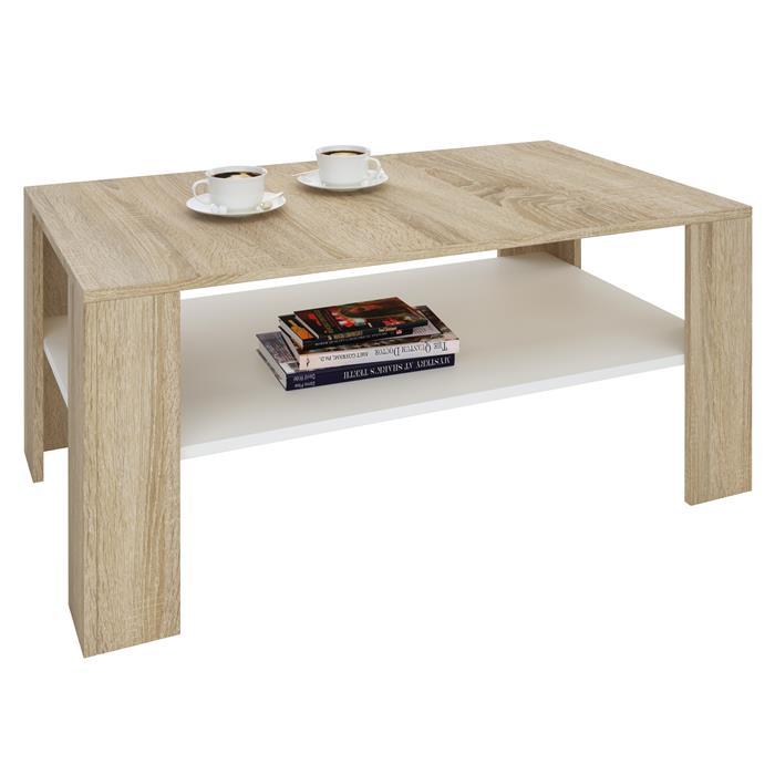 Table basse LORIENT, en mélaminé décor chêne sonoma et blanc mat