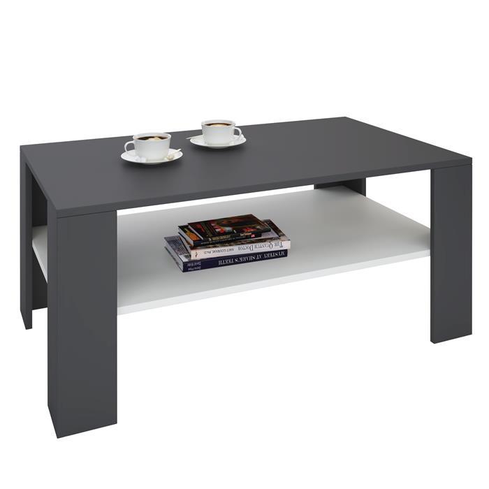 Table basse LORIENT, en mélaminé gris et blanc mat
