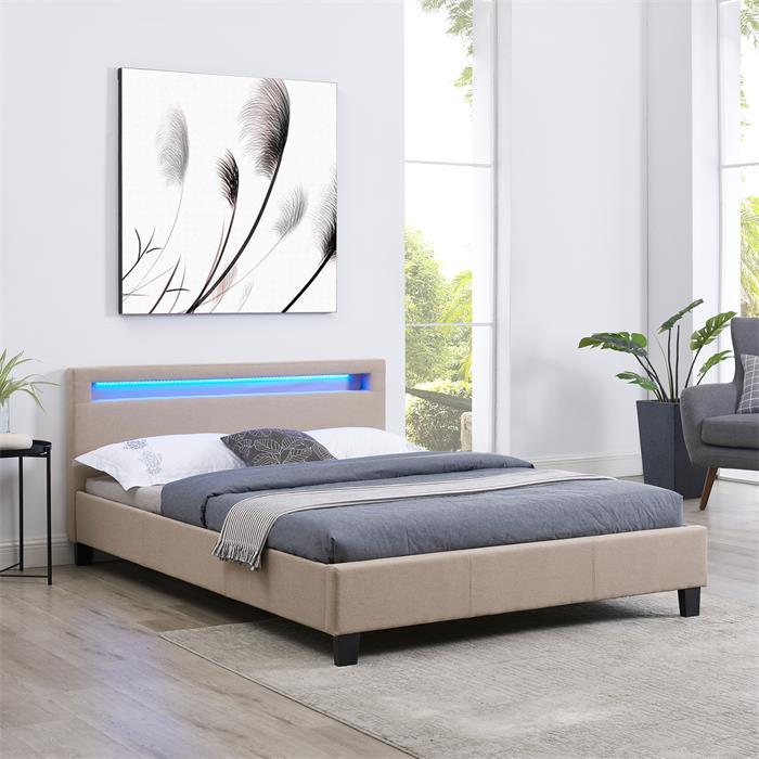 Lit double RIOJA, 140 x 190 cm, avec LED intégrées et sommier, revêtement en tissu beige