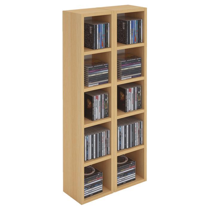 Etagères modulables MUSIQUE pour CD et DVD, en mélaminé couleur hêtre