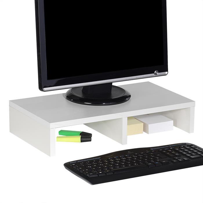Support d'écran d'ordinateur MONITOR, en mélaminé blanc mat