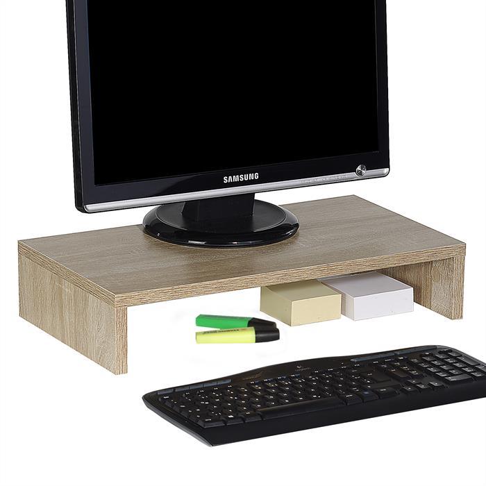 Support d'écran d'ordinateur MONITOR, en mélaminé décor chêne sonoma