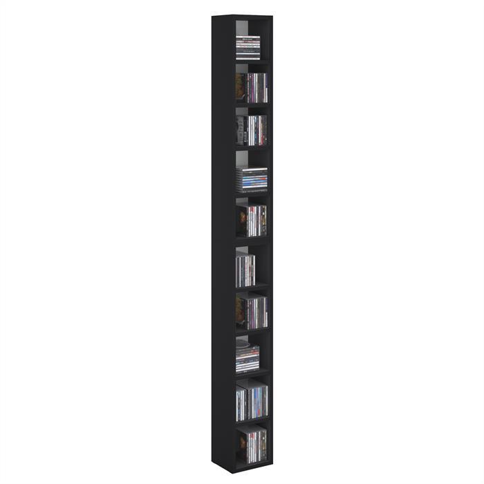 Etagères modulables MUSIQUE pour CD et DVD, en mélaminé noir mat