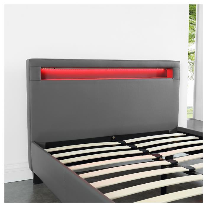 Lit simple MIRANDO, 120 x 190 cm, avec LED intégrées et sommier, revêtement synthétique gris