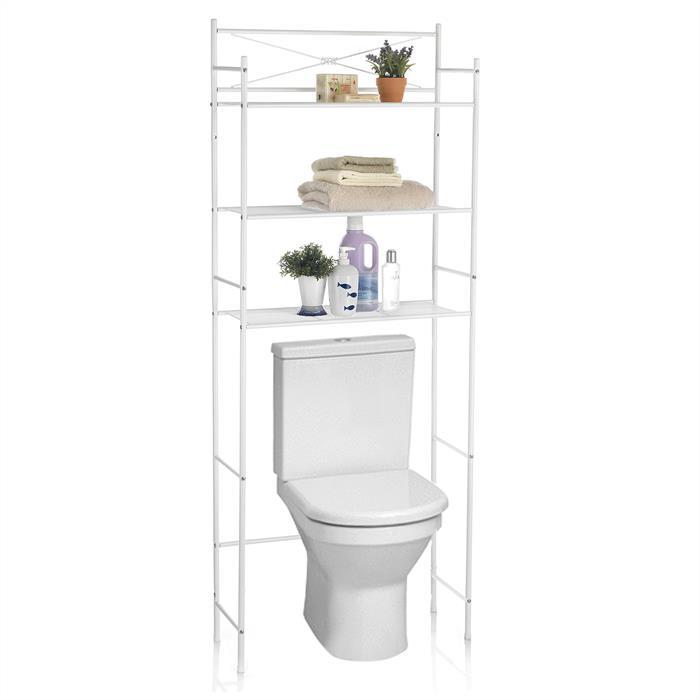 Etagère de salle de bain MARSA, rangement pour WC/lave-linge, en métal laqué blanc
