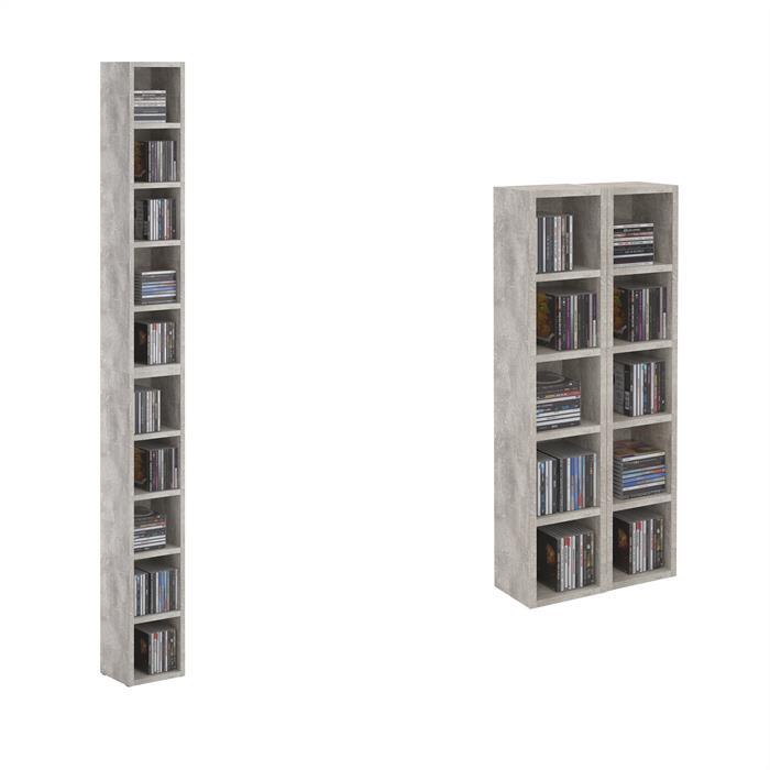 Etagères modulables MUSIQUE pour CD et DVD, en mélaminé décor béton