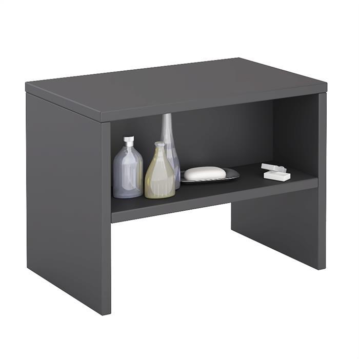 Table de chevet DION, en mélaminé gris mat