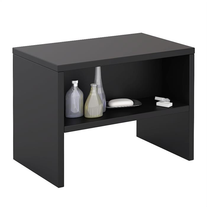 Table de chevet DION, en mélaminé noir mat