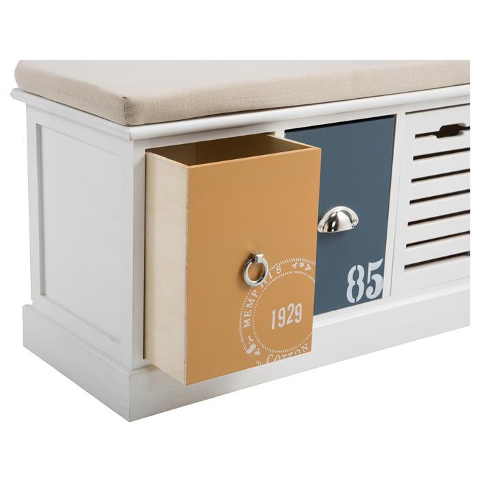 Banc de rangement TRIENT, 3 casiers, blanc orange et bleu