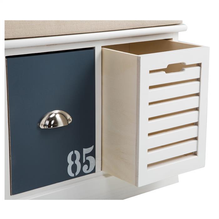 banc de rangement trient 3 casiers blanc orange et bleu mobil meubles. Black Bedroom Furniture Sets. Home Design Ideas