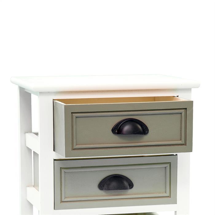 Table de chevet TOSCANA, 2 tiroirs et 1 panier, blanc