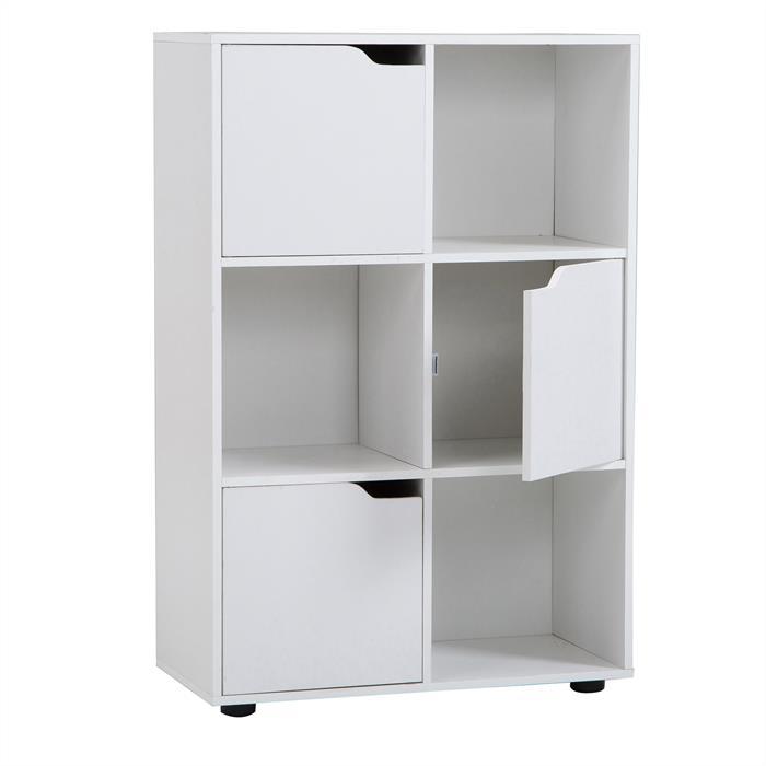 Biblioth que vermont rangement 6 casiers blanc mat for Meuble 6 casiers
