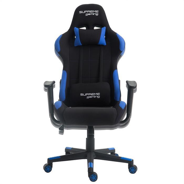 Chaise de bureau gaming SWIFT, revêtement en tissu noir et bleu