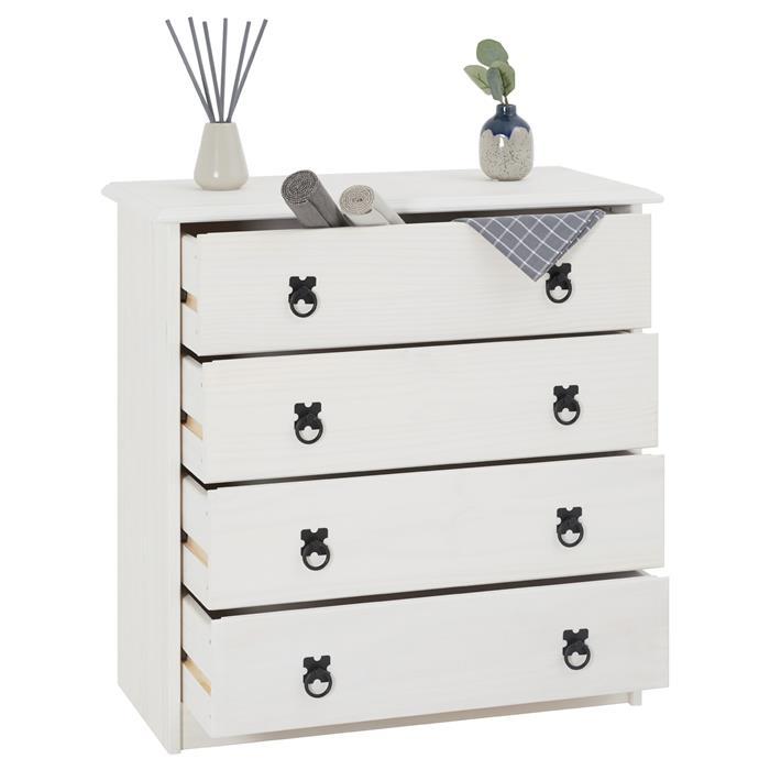 Commode en pin RESIDENCIA, 4 tiroirs en pin massif lasuré blanc