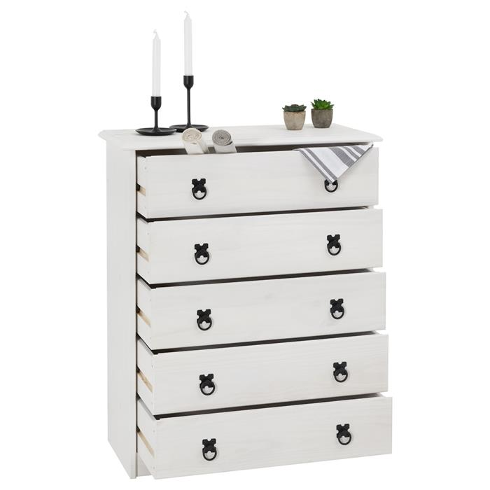 Commode en pin RESIDENCIA, 5 tiroirs en pin massif lasuré blanc