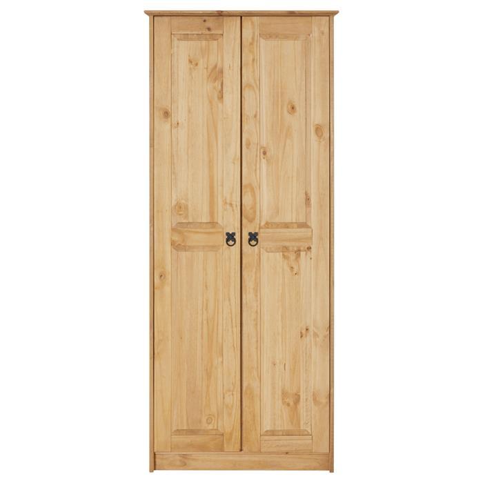 Armoire en pin BARRIO style mexicain, 2 portes, finition teintée/cirée