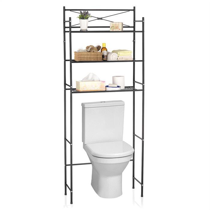 Etagère de salle de bain MARSA, rangement pour WC/lave-linge, en métal laqué noir