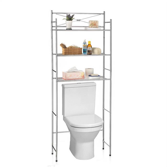 Etagère de salle de bain MARSA, rangement pour WC/lave-linge, en métal chromé