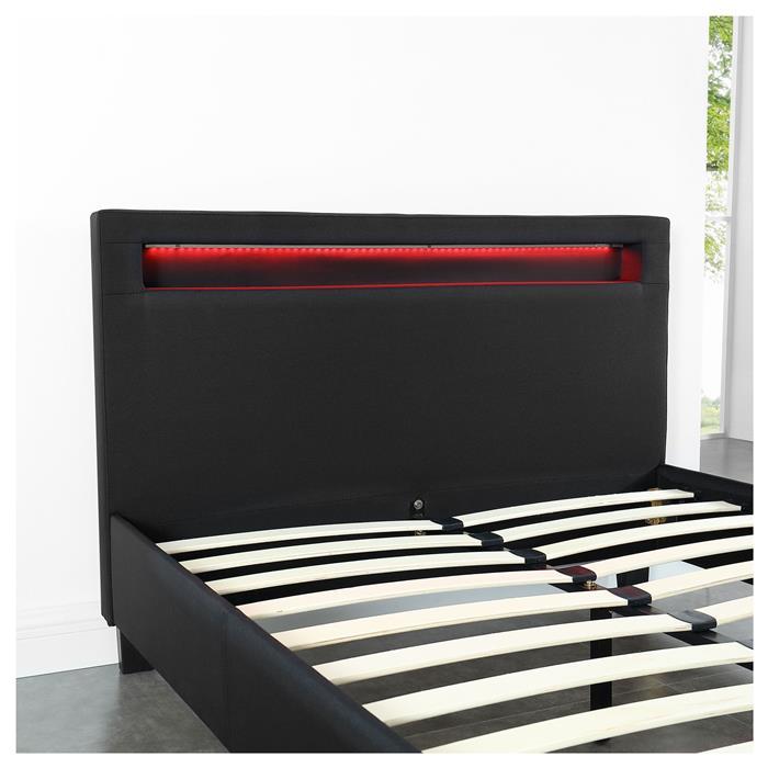 Lit simple MARISELA, 120 x 190 cm, avec LED intégrées et sommier, revêtement en tissu noir
