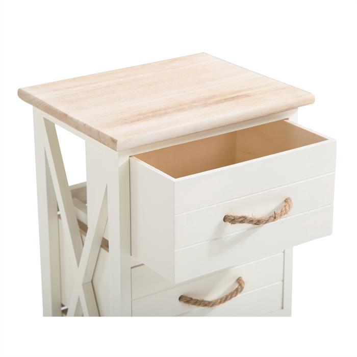 Table de chevet PERUGIA, 3 tiroirs, blanc