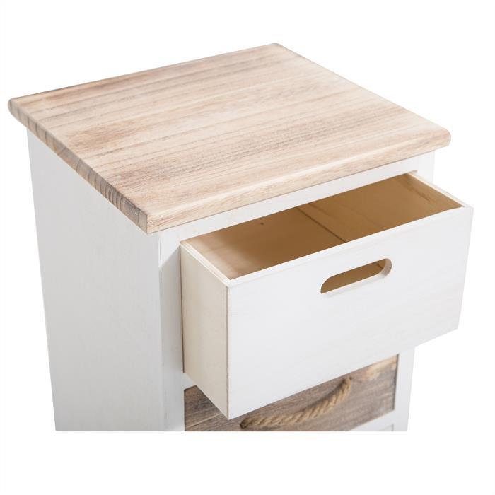 Chiffonnier SALVA avec 3 tiroirs, en bois blanc et brun