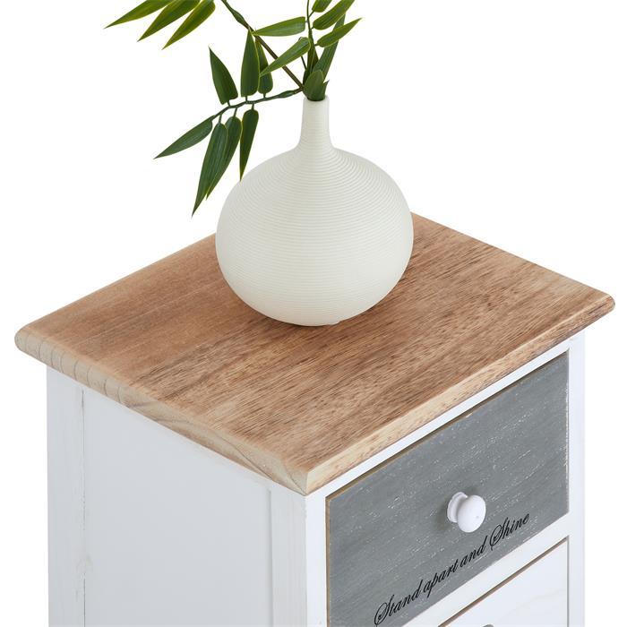 Chiffonnier SALVA avec 5 tiroirs, en bois blanc brun et gris
