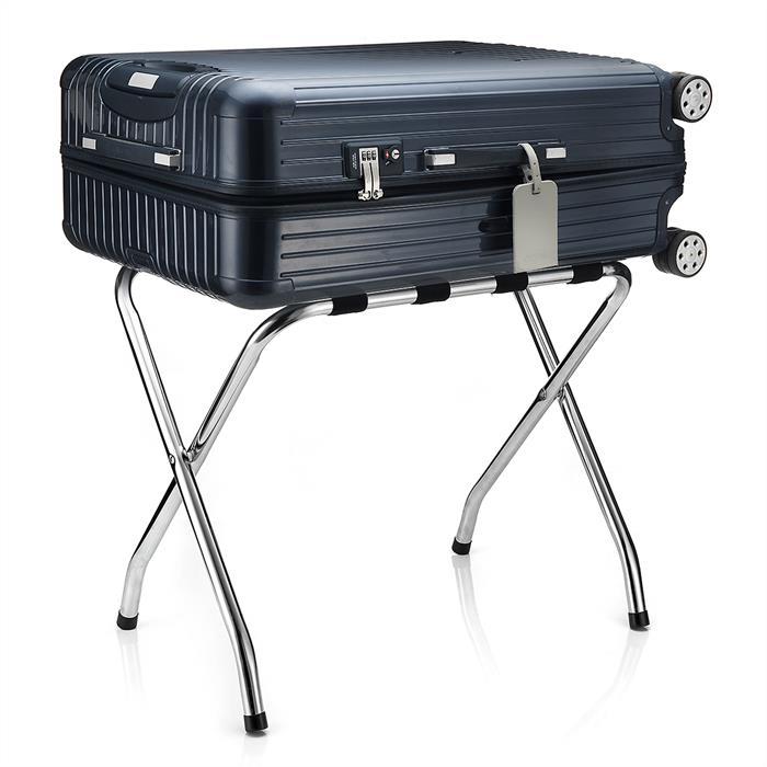 Porte-bagages LUGGAGE, structure pliable en métal chromé