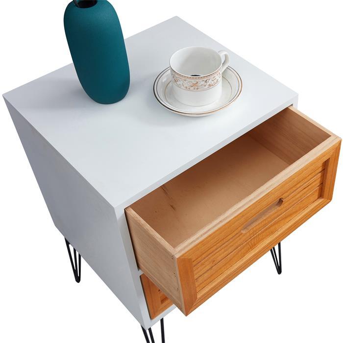 Table de chevet ESTORIL, 2 tiroirs, blanc