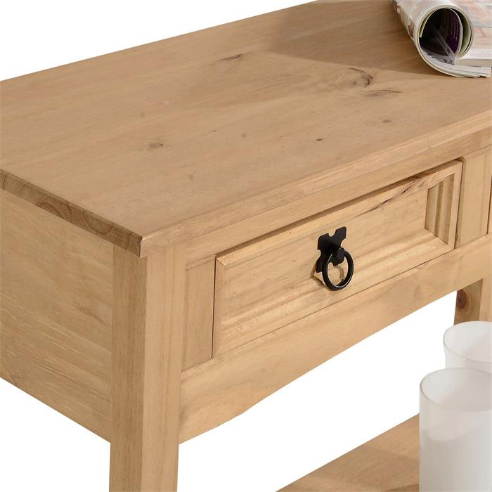 Table console en pin SALSA style mexicain, avec 2 tiroirs