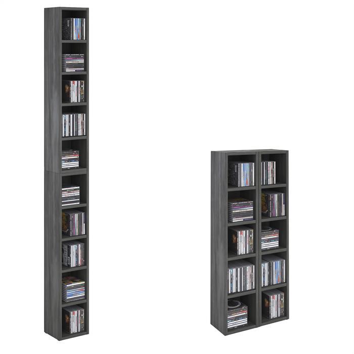 Etagères modulables MUSIQUE pour CD et DVD, en mélaminé décor gris cendré