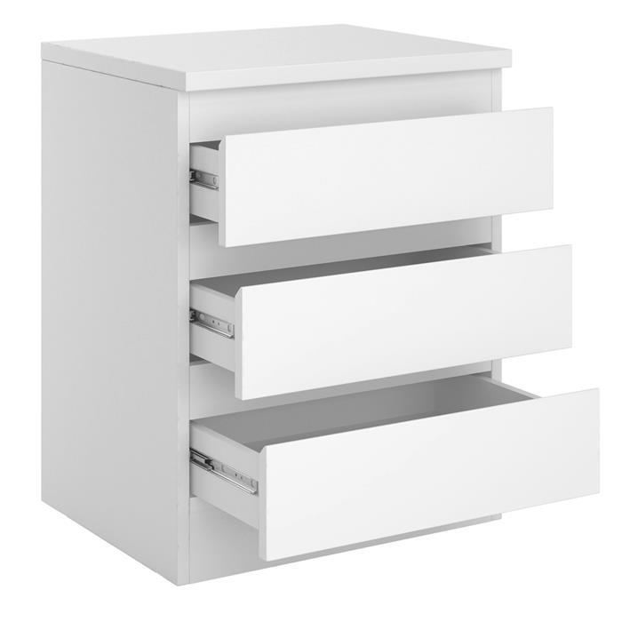 Table de chevet BURGOS, en mélaminé blanc mat