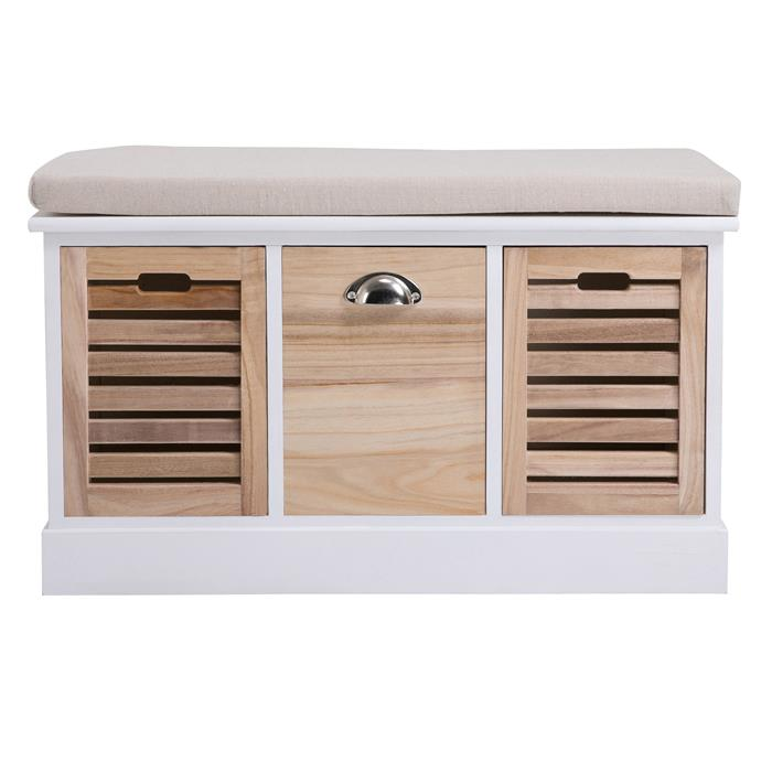 Banc de rangement TRIENT, 3 caisses, blanc et finition bois naturel