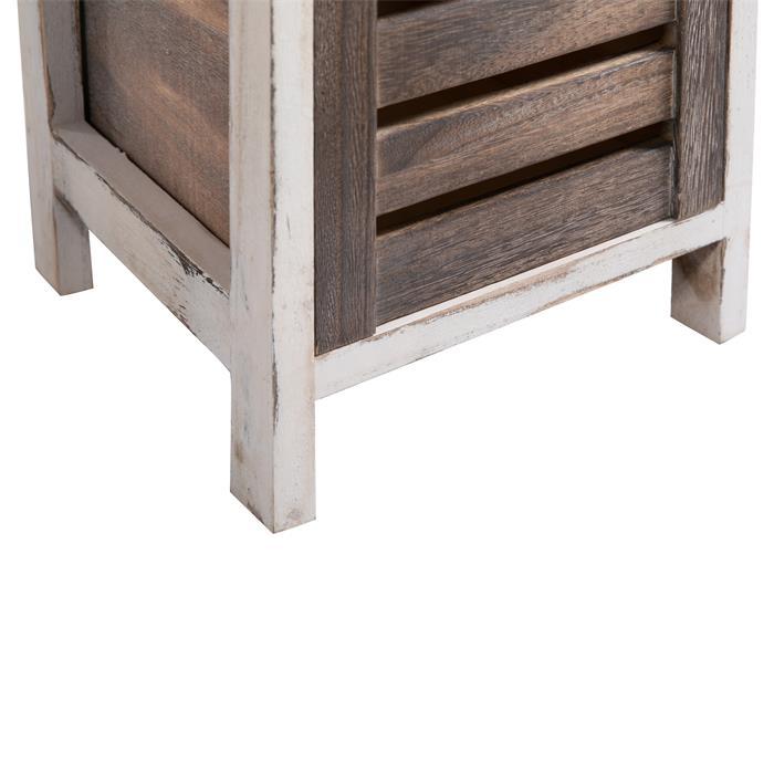 Chiffonnier PADUA en bois, 3 tiroirs, blanc et brun