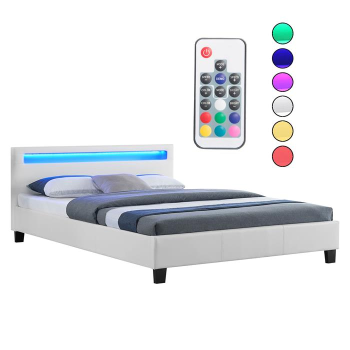 Lit double PINOT, 140 x 190 cm, avec LED intégrées et sommier, revêtement synthétique blanc