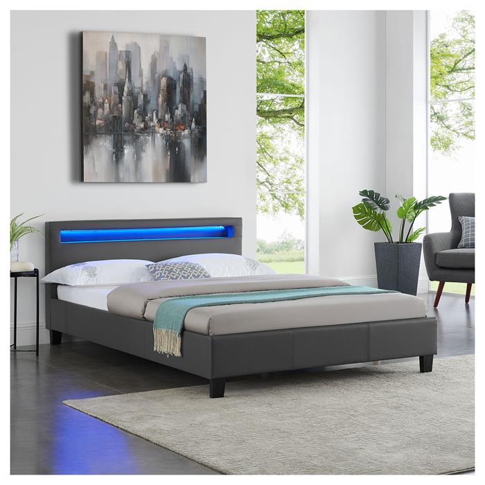 Lit double PINOT, 140 x 190 cm, avec LED intégrées et sommier, revêtement synthétique gris