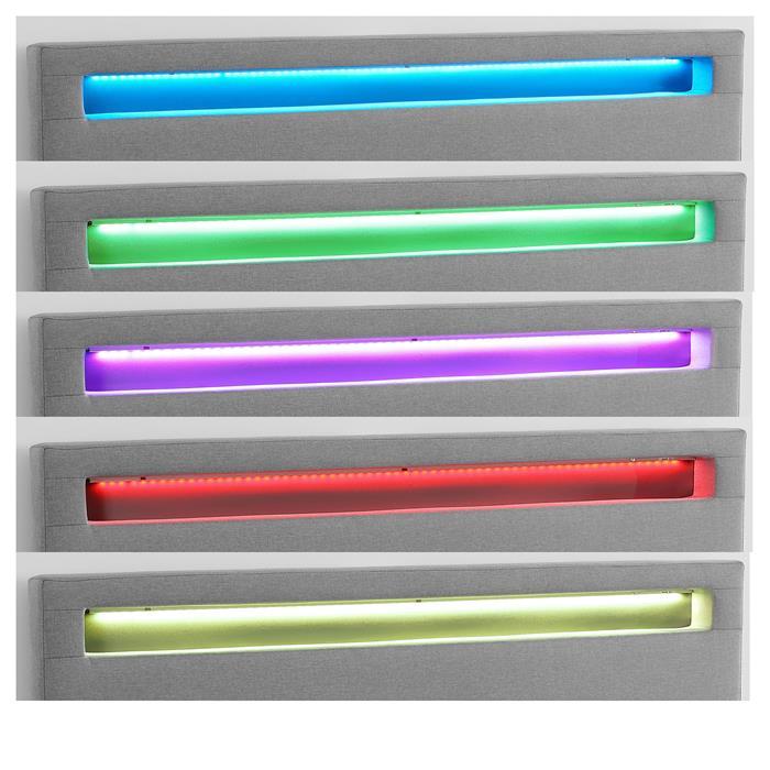 Lit double RIOJA, 140 x 190 cm, avec LED intégrées et sommier, revêtement en tissu gris