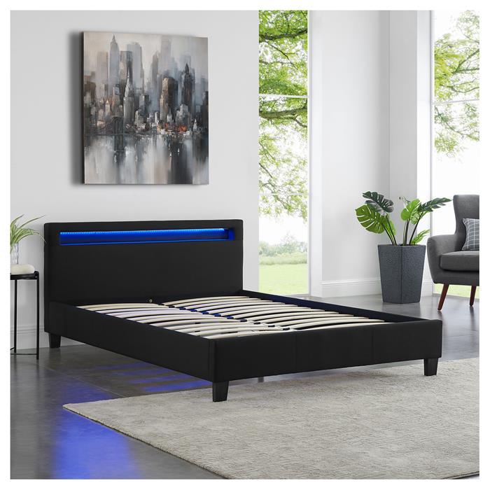 Lit double RIOJA, 140 x 190 cm, avec LED intégrées et sommier, revêtement en tissu noir