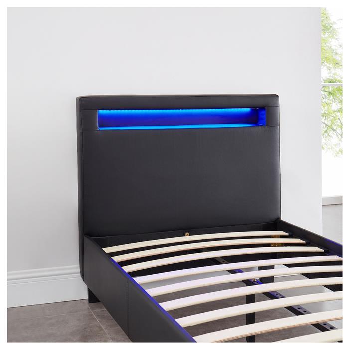 Lit simple LUCENO, 90 x 190 cm, avec LED intégrées et sommier, revêtement synthétique noir