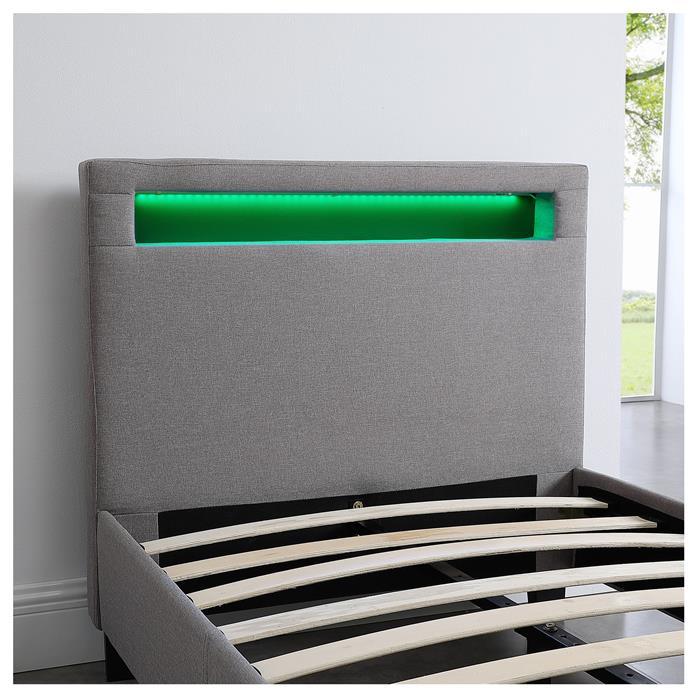 Lit simple MOLINA, 90 x 190 cm, avec LED intégrées et sommier, revêtement en tissu gris