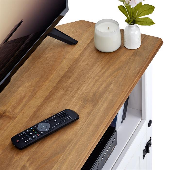 Meuble TV CAMPO avec 2 portes, style mexicain en pin massif blanc et brun