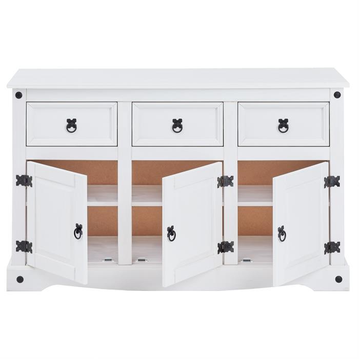Buffet RURAL avec 3 tiroirs et 3 portes, style mexicain en pin massif blanc