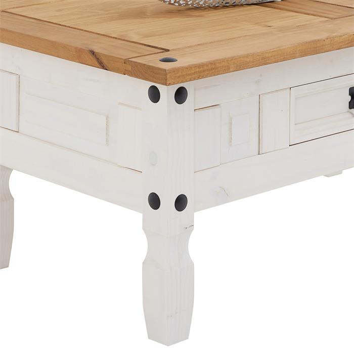 Table basse CAMPO avec 1 tiroir, style mexicain en pin massif blanc et brun
