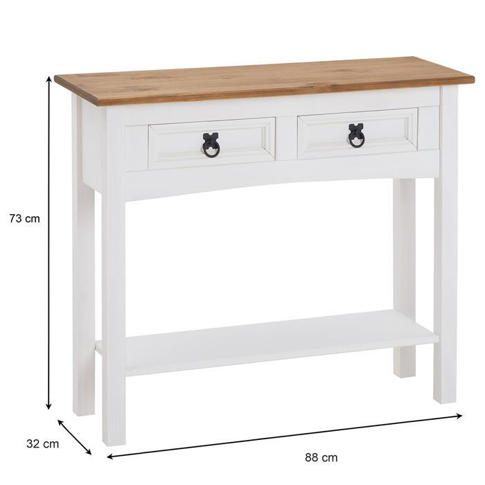 Table console CAMPO avec 2 tiroirs, style mexicain en pin massif blanc et brun